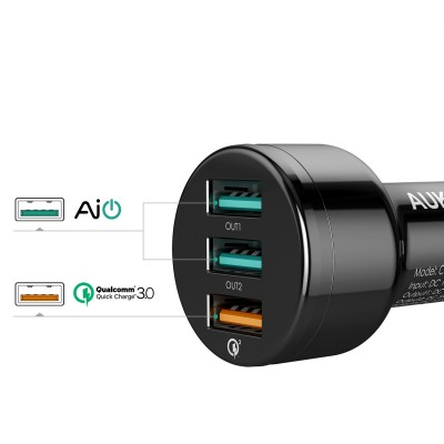 AUKEY USB adaptér do auta 3 porty quick charger CC-T11