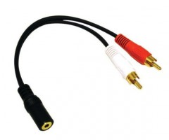 Audio kabel jack - 2x RCA (cinch) samička - samec